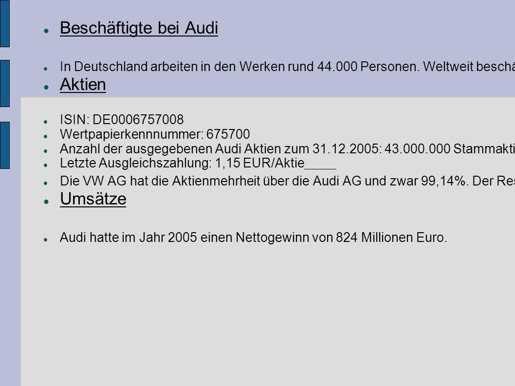 Beschäftigte bei Audi In Deutschland arbeiten in den Werken rund 44.000 Personen.