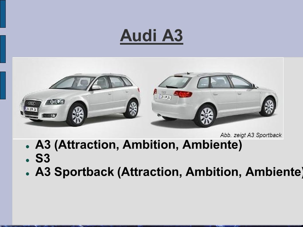 Audi A3 A3 (Attraction, Ambition, Ambiente) S3 A3 Sportback (Attraction, Ambition, Ambiente)  Abb.