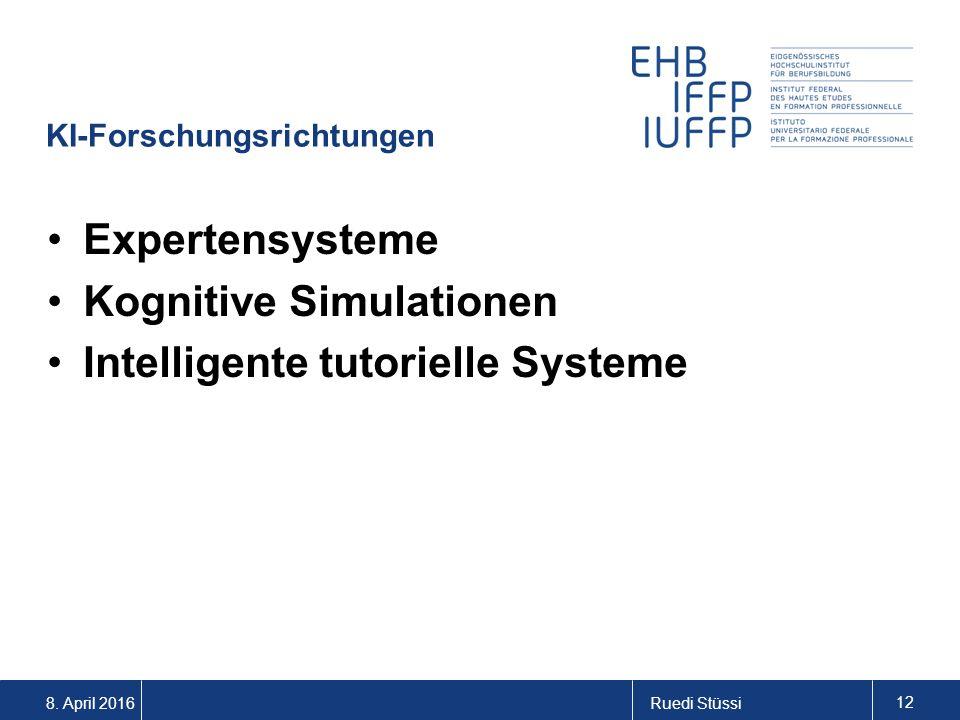 8. April 2016Ruedi Stüssi 12 KI-Forschungsrichtungen Expertensysteme Kognitive Simulationen Intelligente tutorielle Systeme