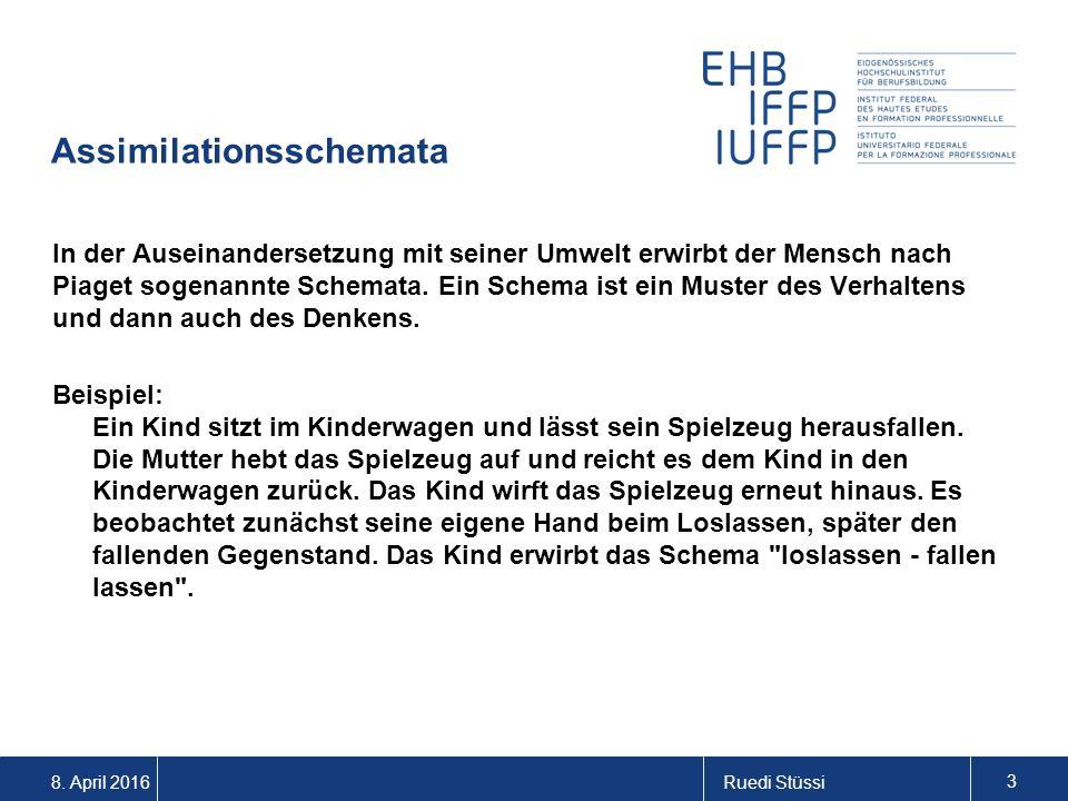 8. April 2016Ruedi Stüssi 3 Assimilationsschemata In der Auseinandersetzung mit seiner Umwelt erwirbt der Mensch nach Piaget sogenannte Schemata. Ein