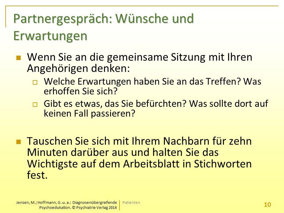 Jensen, M.; Hoffmann, G. u. a.: Diagnosenübergreifende Psychoedukation. © Psychiatrie Verlag 2014 Partnergespräch: Wünsche und Erwartungen Wenn Sie an
