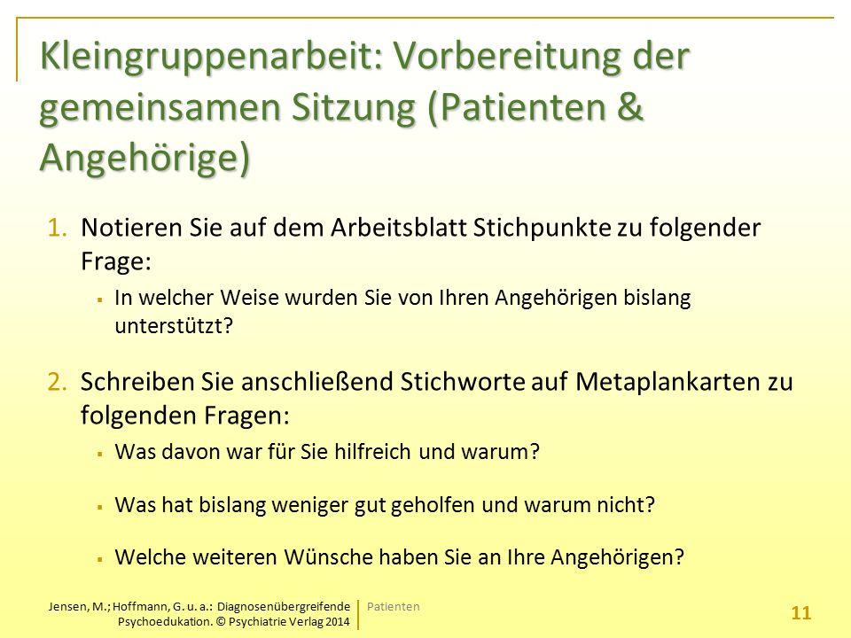 Jensen, M.; Hoffmann, G. u. a.: Diagnosenübergreifende Psychoedukation. © Psychiatrie Verlag 2014 Kleingruppenarbeit: Vorbereitung der gemeinsamen Sit