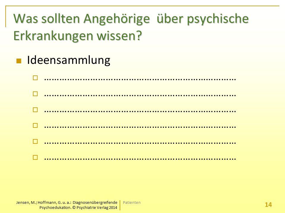 Jensen, M.; Hoffmann, G. u. a.: Diagnosenübergreifende Psychoedukation. © Psychiatrie Verlag 2014 Was sollten Angehörige über psychische Erkrankungen