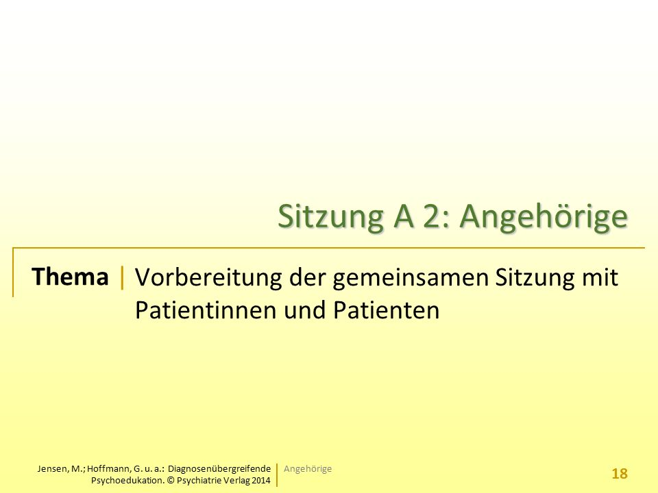 Jensen, M.; Hoffmann, G. u. a.: Diagnosenübergreifende Psychoedukation. © Psychiatrie Verlag 2014 Thema | Sitzung A 2: Angehörige Vorbereitung der gem