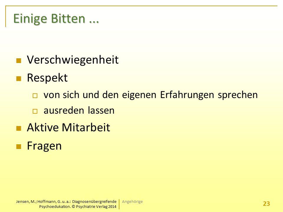 Jensen, M.; Hoffmann, G. u. a.: Diagnosenübergreifende Psychoedukation. © Psychiatrie Verlag 2014 Einige Bitten... Verschwiegenheit Respekt  von sich