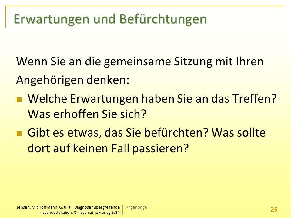 Jensen, M.; Hoffmann, G. u. a.: Diagnosenübergreifende Psychoedukation. © Psychiatrie Verlag 2014 Erwartungen und Befürchtungen Wenn Sie an die gemein