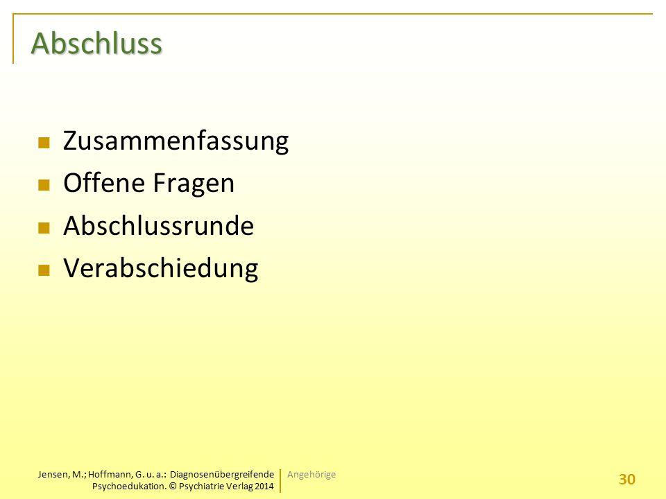 Jensen, M.; Hoffmann, G. u. a.: Diagnosenübergreifende Psychoedukation. © Psychiatrie Verlag 2014 Abschluss Zusammenfassung Offene Fragen Abschlussrun