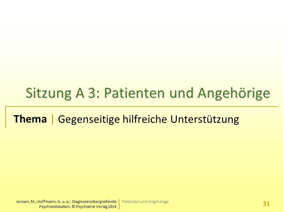 Jensen, M.; Hoffmann, G. u. a.: Diagnosenübergreifende Psychoedukation. © Psychiatrie Verlag 2014 Thema | Sitzung A 3: Patienten und Angehörige Gegens