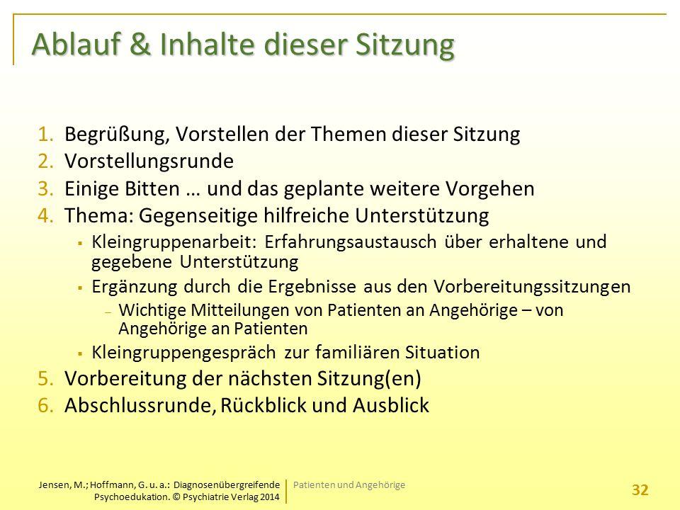 Jensen, M.; Hoffmann, G. u. a.: Diagnosenübergreifende Psychoedukation. © Psychiatrie Verlag 2014 Ablauf & Inhalte dieser Sitzung 1.Begrüßung, Vorstel