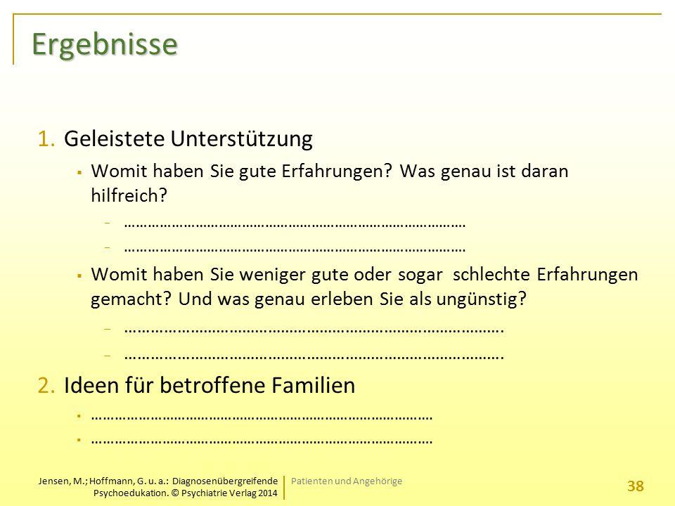 Jensen, M.; Hoffmann, G. u. a.: Diagnosenübergreifende Psychoedukation. © Psychiatrie Verlag 2014 Ergebnisse 1.Geleistete Unterstützung  Womit haben