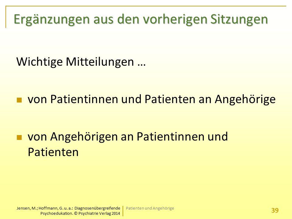 Jensen, M.; Hoffmann, G. u. a.: Diagnosenübergreifende Psychoedukation. © Psychiatrie Verlag 2014 Ergänzungen aus den vorherigen Sitzungen Ergänzungen