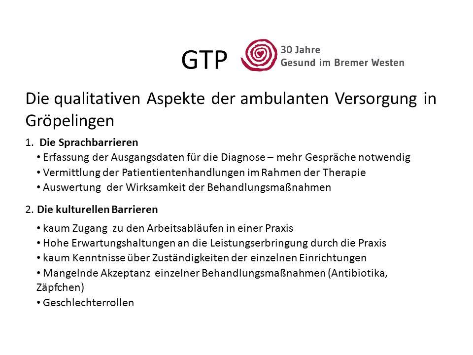 GTP 1. Die Sprachbarrieren Die qualitativen Aspekte der ambulanten Versorgung in Gröpelingen Erfassung der Ausgangsdaten für die Diagnose – mehr Gespr