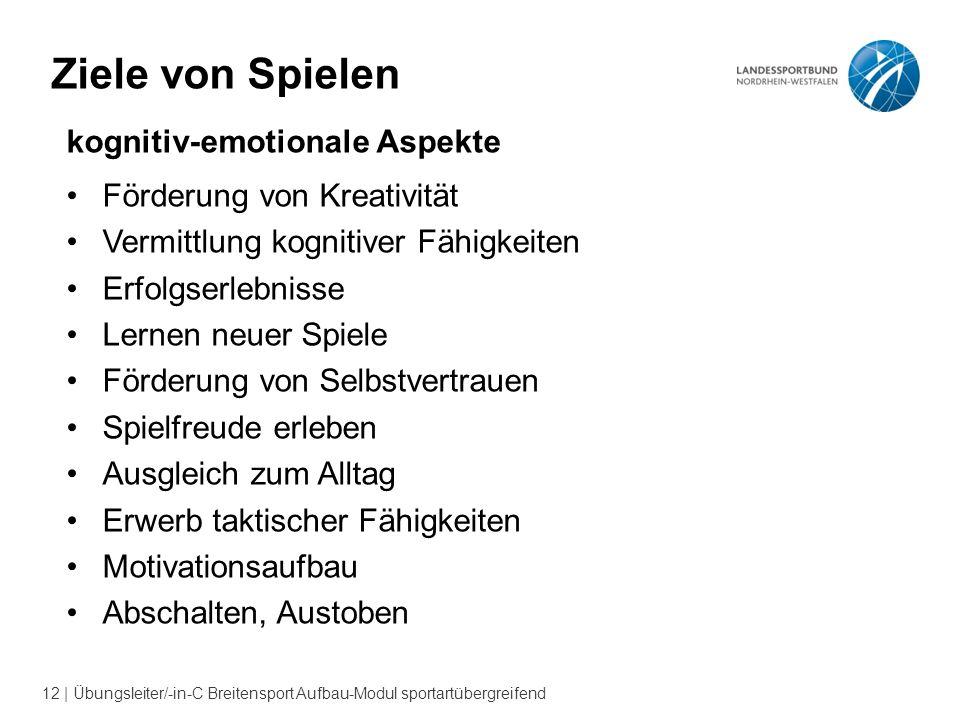 12 | Übungsleiter/-in-C Breitensport Aufbau-Modul sportartübergreifend Ziele von Spielen kognitiv-emotionale Aspekte Förderung von Kreativität Vermitt