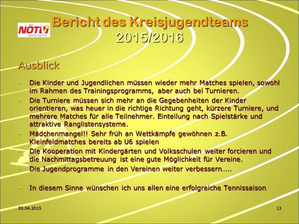 20.04.201513 Bericht des Kreisjugendteams 2015/2016 Ausblick -Die Kinder und Jugendlichen müssen wieder mehr Matches spielen, sowohl im Rahmen des Trainingsprogramms, aber auch bei Turnieren.