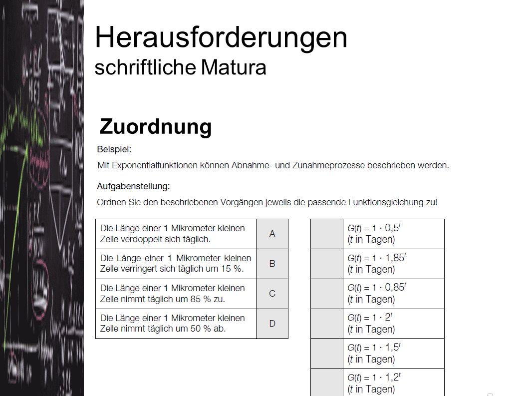 Herausforderungen schriftliche Matura Zuordnung Quelle: Konzeptpapier bifie (Version 3.5.2012)