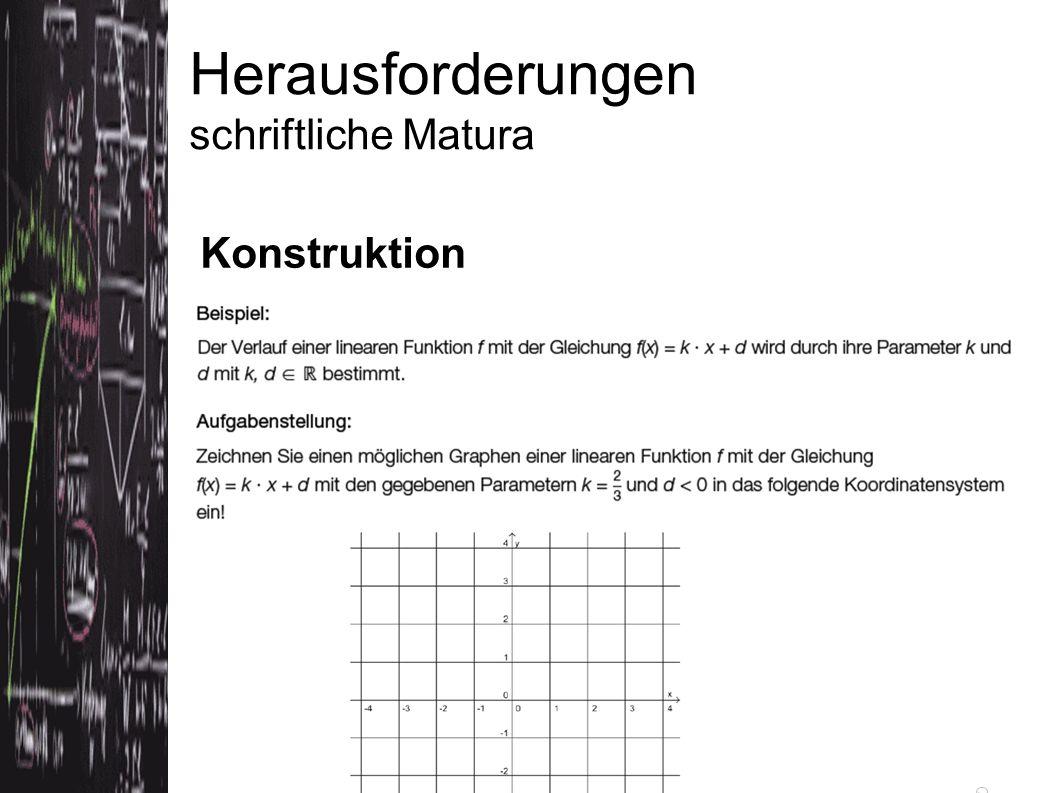 Herausforderungen schriftliche Matura Konstruktion Quelle: Konzeptpapier bifie (Version 3.5.2012)