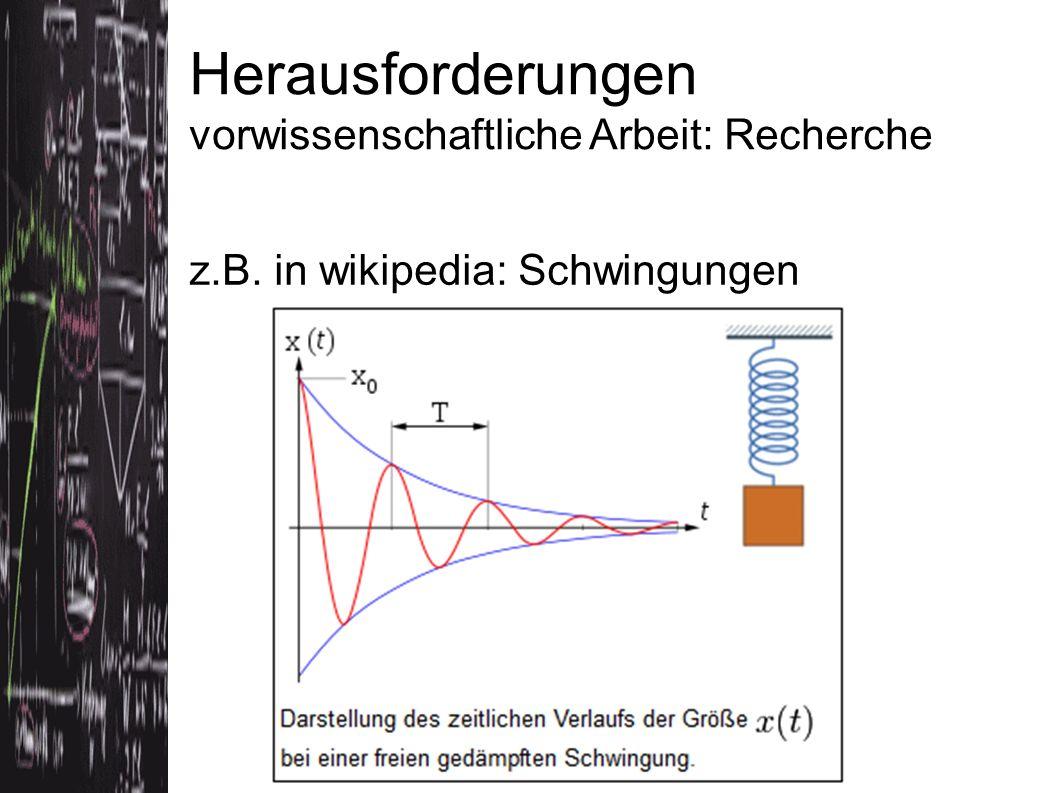 Herausforderungen vorwissenschaftliche Arbeit: Recherche z.B. in wikipedia: Schwingungen