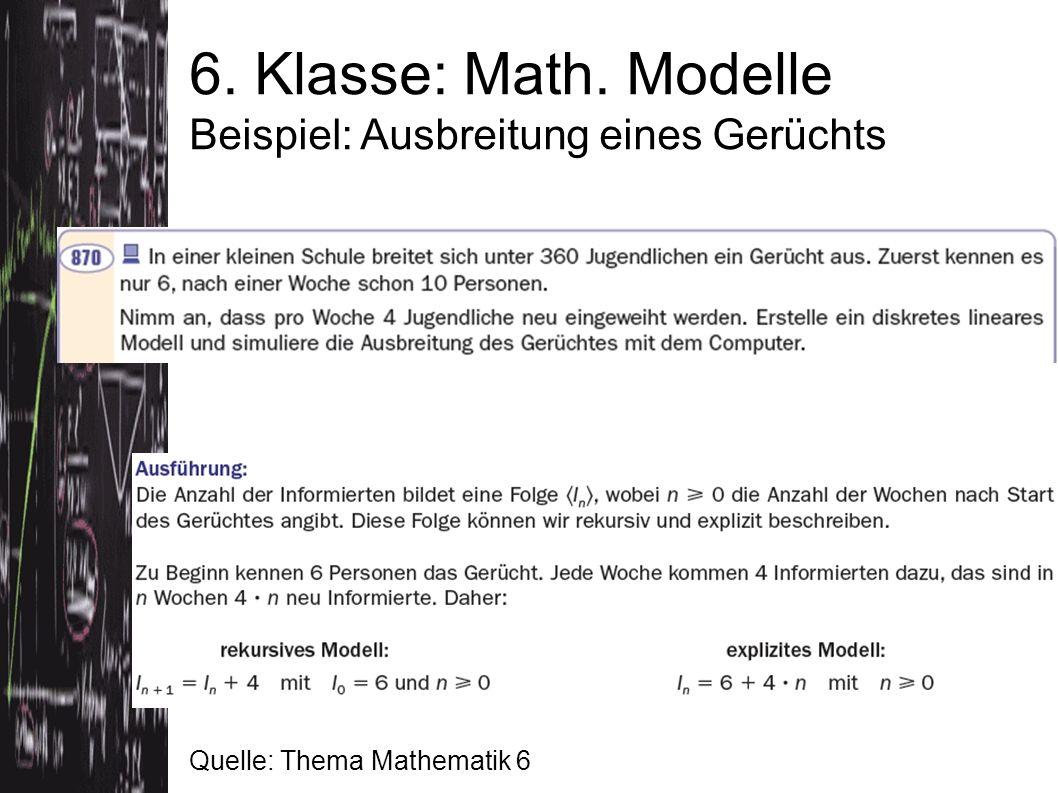 6. Klasse: Math. Modelle Beispiel: Ausbreitung eines Gerüchts Quelle: Thema Mathematik 6