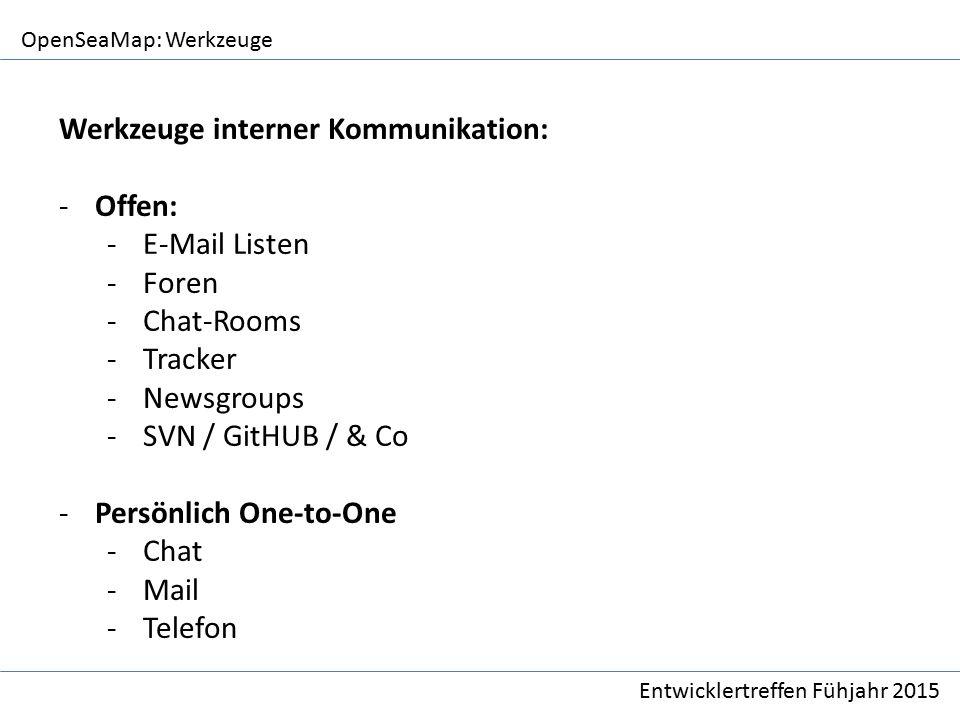 OpenSeaMap: Werkzeuge Entwicklertreffen Fühjahr 2015 Werkzeuge interner Kommunikation: -Offen: -E-Mail Listen -Foren -Chat-Rooms -Tracker -Newsgroups -SVN / GitHUB / & Co -Persönlich One-to-One -Chat -Mail -Telefon