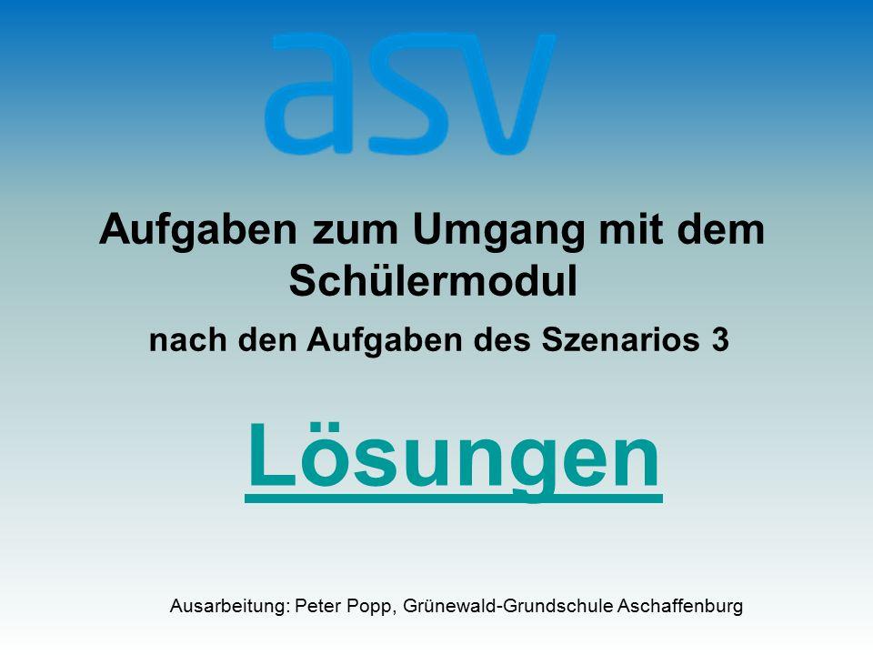 Aufgaben zum Umgang mit dem Schülermodul nach den Aufgaben des Szenarios 3 Ausarbeitung: Peter Popp, Grünewald-Grundschule Aschaffenburg Lösungen