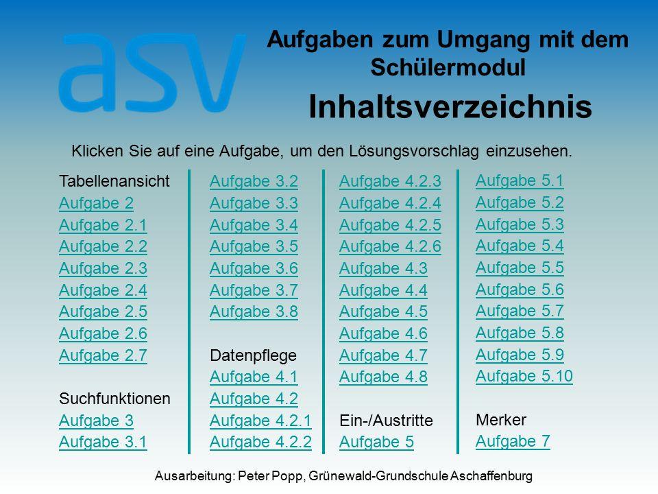 Aufgaben zum Umgang mit dem Schülermodul Inhaltsverzeichnis Ausarbeitung: Peter Popp, Grünewald-Grundschule Aschaffenburg Klicken Sie auf eine Aufgabe, um den Lösungsvorschlag einzusehen.