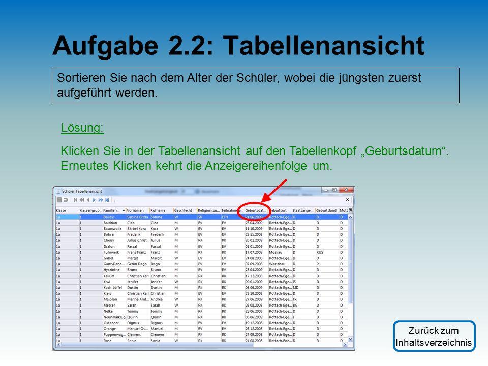 Aufgabe 2.2: Tabellenansicht Sortieren Sie nach dem Alter der Schüler, wobei die jüngsten zuerst aufgeführt werden.