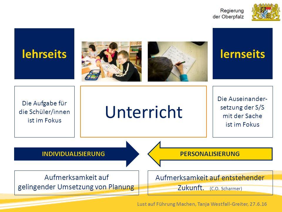 Lust auf Führung Machen, Tanja Westfall-Greiter, 27.6.16 lernseits Die Aufgabe für die Schüler/innen ist im Fokus Unterricht Die Auseinander- setzung der S/S mit der Sache ist im Fokus Aufmerksamkeit auf gelingender Umsetzung von Planung.