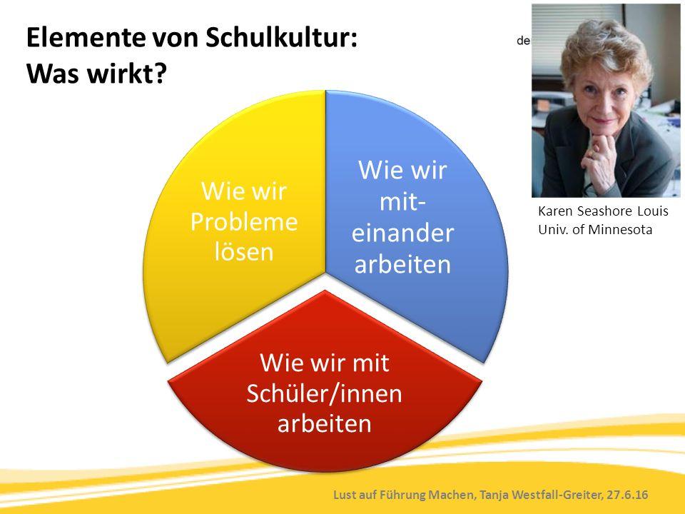 Lust auf Führung Machen, Tanja Westfall-Greiter, 27.6.16 Elemente von Schulkultur: Was wirkt? Wie wir mit- einander arbeiten Wie wir mit Schüler/innen