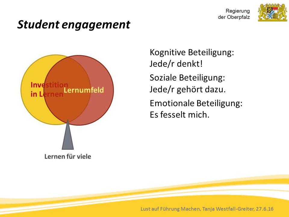 Lust auf Führung Machen, Tanja Westfall-Greiter, 27.6.16 Student engagement Kognitive Beteiligung: Jede/r denkt! Soziale Beteiligung: Jede/r gehört da
