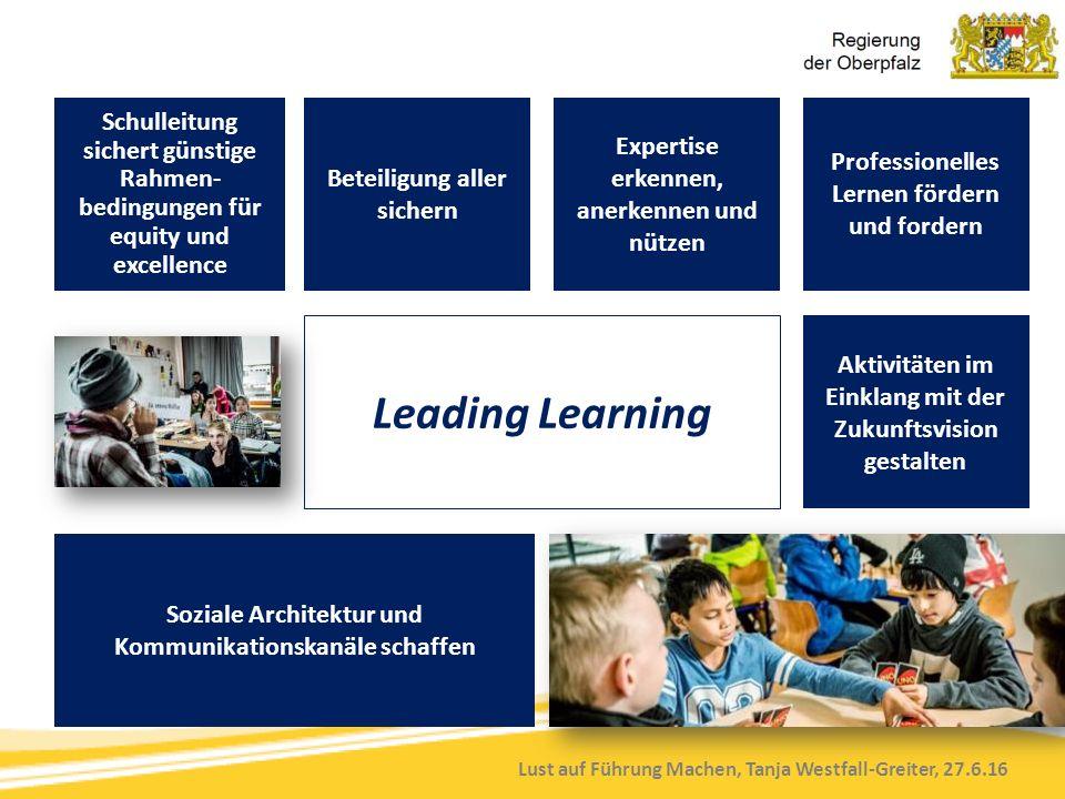 Lust auf Führung Machen, Tanja Westfall-Greiter, 27.6.16 Schulleitung sichert günstige Rahmen- bedingungen für equity und excellence Beteiligung aller