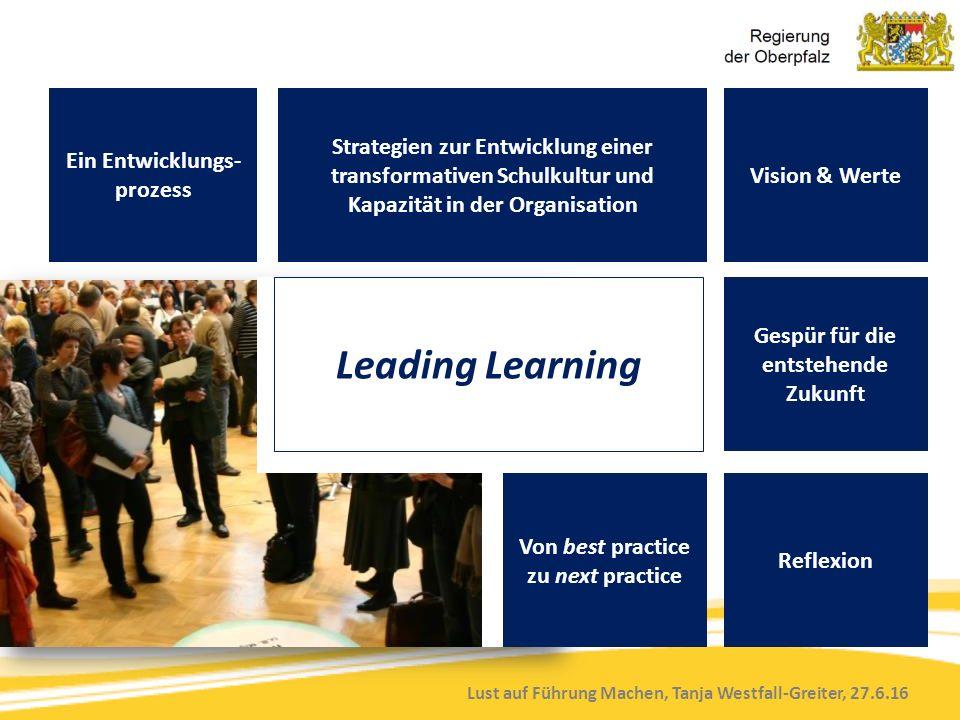 Lust auf Führung Machen, Tanja Westfall-Greiter, 27.6.16 Ein Entwicklungs- prozess Strategien zur Entwicklung einer transformativen Schulkultur und Kapazität in der Organisation Vision & Werte Leading Learning Gespür für die entstehende Zukunft Reflexion Von best practice zu next practice
