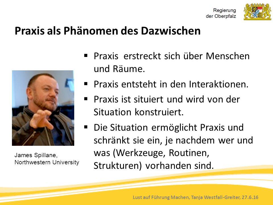 Lust auf Führung Machen, Tanja Westfall-Greiter, 27.6.16 Praxis als Phänomen des Dazwischen  Praxis erstreckt sich über Menschen und Räume.