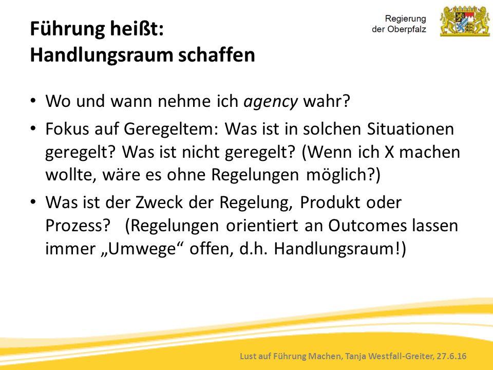 Lust auf Führung Machen, Tanja Westfall-Greiter, 27.6.16 Führung heißt: Handlungsraum schaffen Wo und wann nehme ich agency wahr? Fokus auf Geregeltem