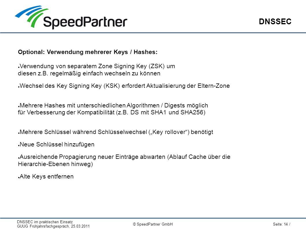 DNSSEC im praktischen Einsatz GUUG Frühjahrsfachgespräch, 25.03.2011 Seite: 14 / © SpeedPartner GmbH DNSSEC Optional: Verwendung mehrerer Keys / Hashes: ● Verwendung von separatem Zone Signing Key (ZSK) um diesen z.B.