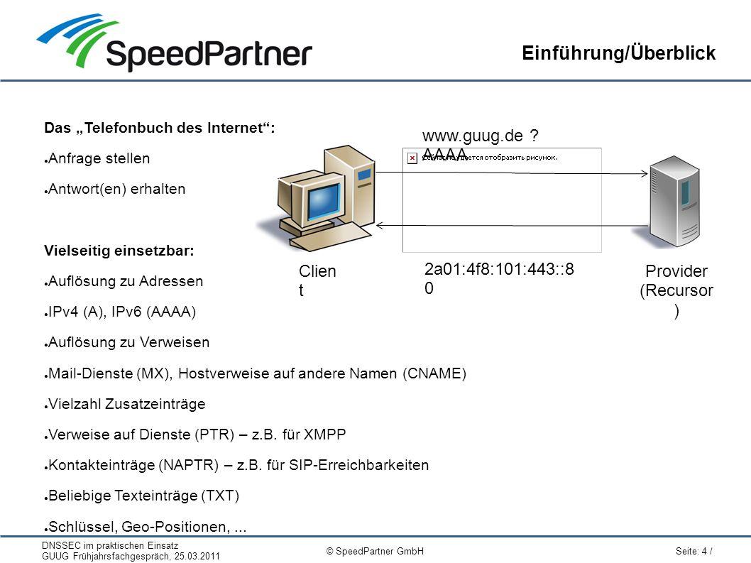 """DNSSEC im praktischen Einsatz GUUG Frühjahrsfachgespräch, 25.03.2011 Seite: 4 / © SpeedPartner GmbH Einführung/Überblick Das """"Telefonbuch des Internet"""