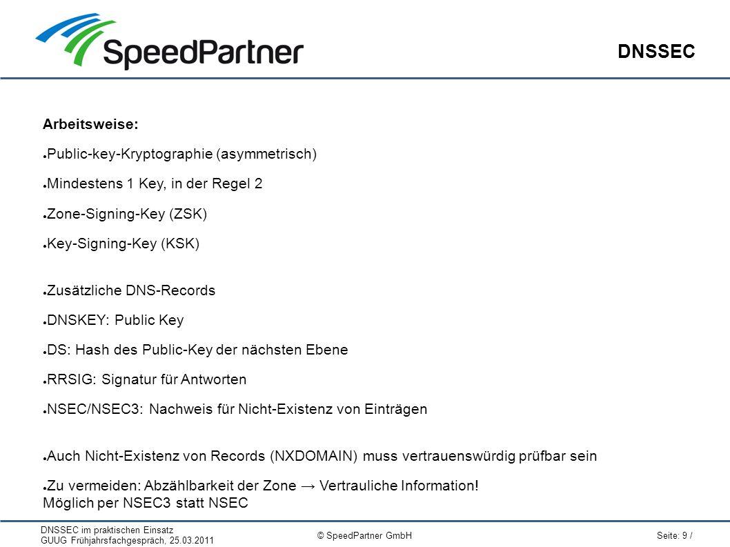 DNSSEC im praktischen Einsatz GUUG Frühjahrsfachgespräch, 25.03.2011 Seite: 9 / © SpeedPartner GmbH DNSSEC Arbeitsweise: ● Public-key-Kryptographie (a