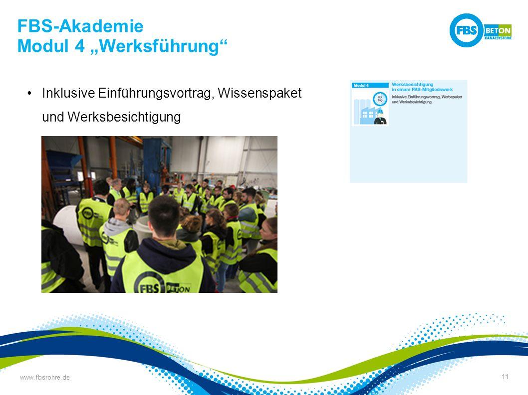 """www.fbsrohre.de 11 FBS-Akademie Modul 4 """"Werksführung Inklusive Einführungsvortrag, Wissenspaket und Werksbesichtigung"""
