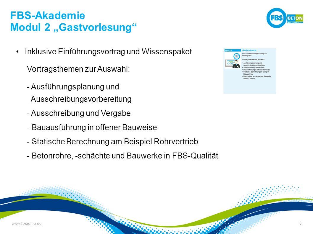 """www.fbsrohre.de 7 FBS-Akademie Modul 2 """"Gastvorlesung Vortrag aus der Betriebs- und Baustellenpraxis bei den Stadtwerken Osnabrück"""