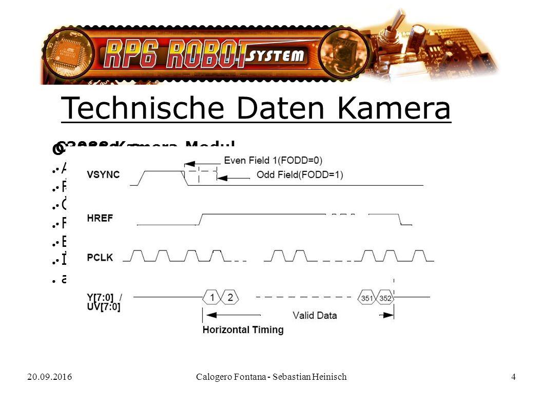 20.09.2016Calogero Fontana - Sebastian Heinisch4 Technische Daten Kamera OV6620 Sensor: ● Auflösung: 356 x 292 (172 x 144) ● Formate: YUV, RGB, SW ● Output: Analog, Digital (4/8/16Bit) ● Framerate: 60FPS max.
