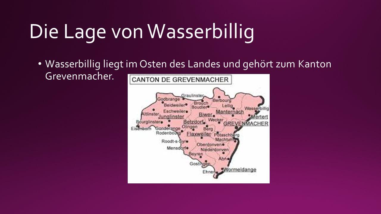 Die Lage von Wasserbillig Wasserbillig liegt im Osten des Landes und gehört zum Kanton Grevenmacher.