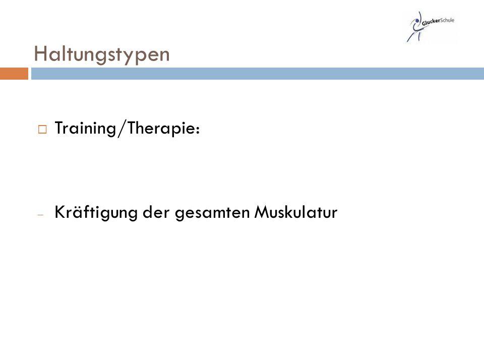  Training/Therapie:  Kräftigung der gesamten Muskulatur Haltungstypen