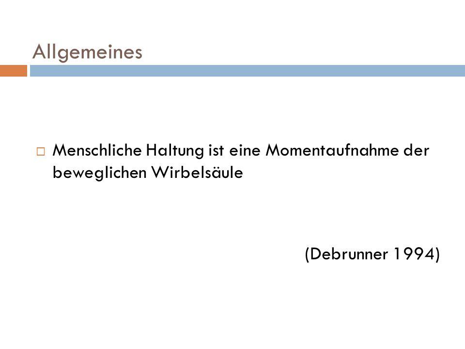 Allgemeines  Menschliche Haltung ist eine Momentaufnahme der beweglichen Wirbelsäule (Debrunner 1994)