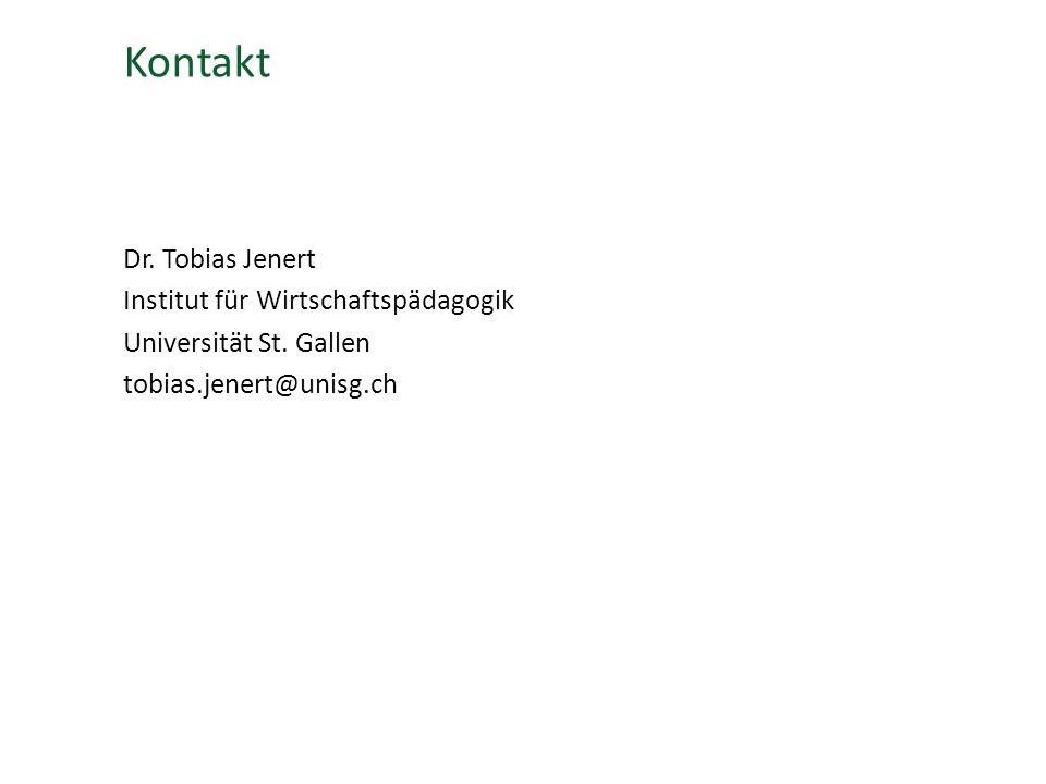 Kontakt Dr.Tobias Jenert Institut für Wirtschaftspädagogik Universität St.
