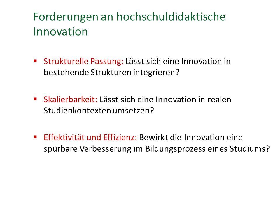 Forderungen an hochschuldidaktische Innovation  Strukturelle Passung: Lässt sich eine Innovation in bestehende Strukturen integrieren.