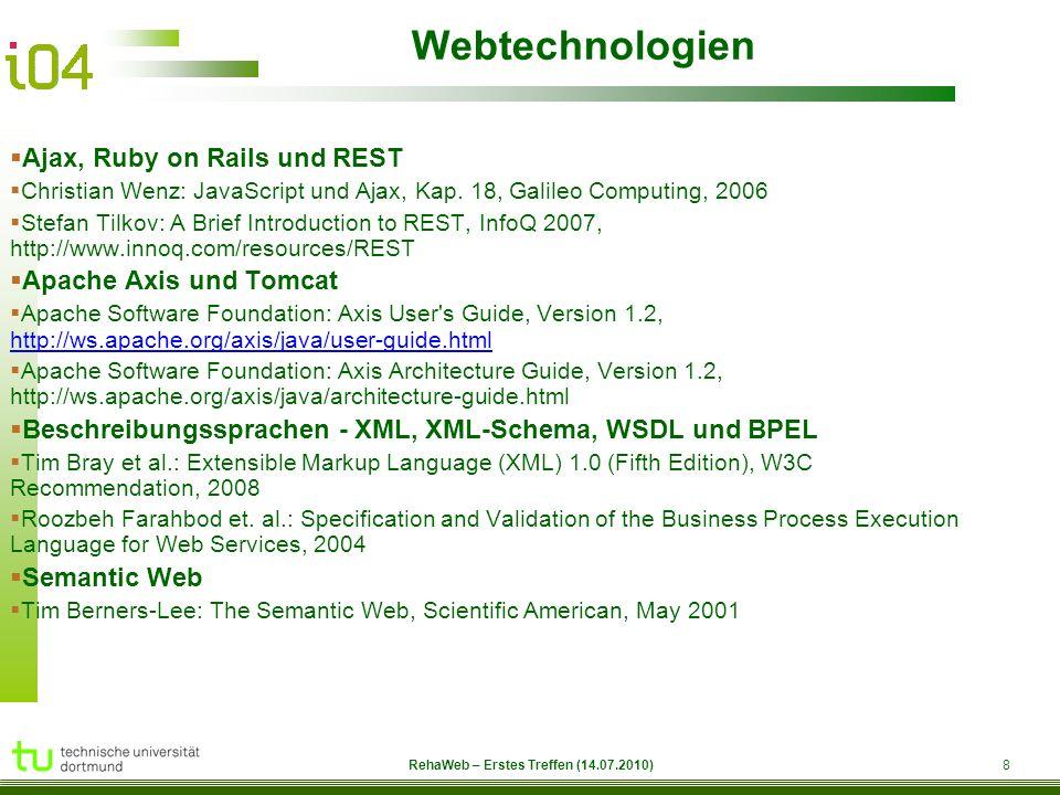 RehaWeb 9 RehaWeb – Erstes Treffen (14.07.2010) Themenauswahl – Wer mach was.