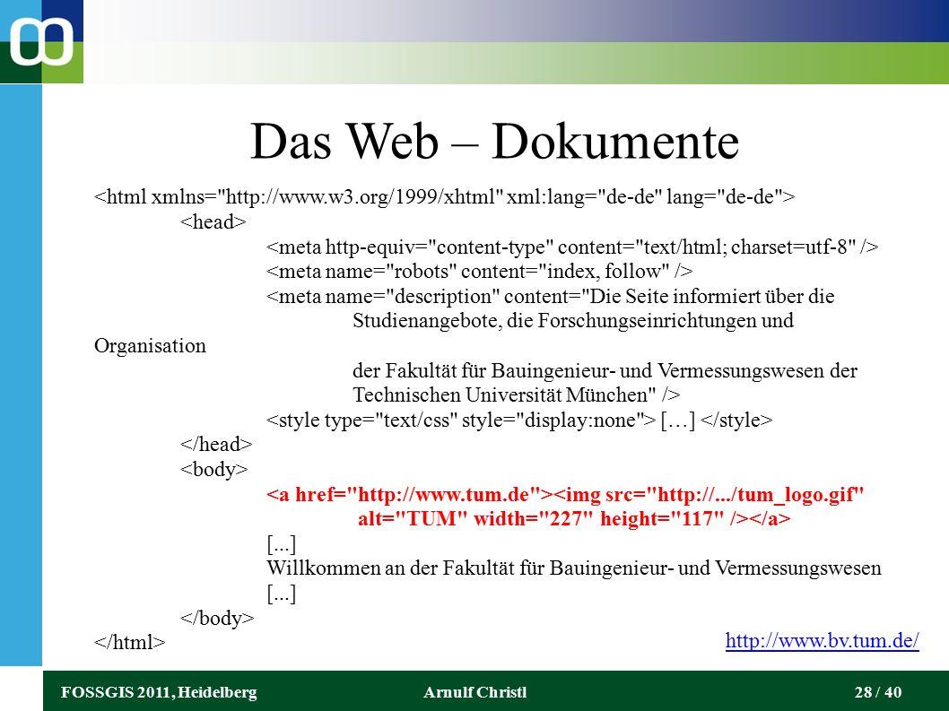 FOSSGIS 2011, HeidelbergArnulf Christl28 / 40 Das Web – Dokumente […] [...] Willkommen an der Fakultät für Bauingenieur- und Vermessungswesen [...] http://www.bv.tum.de/