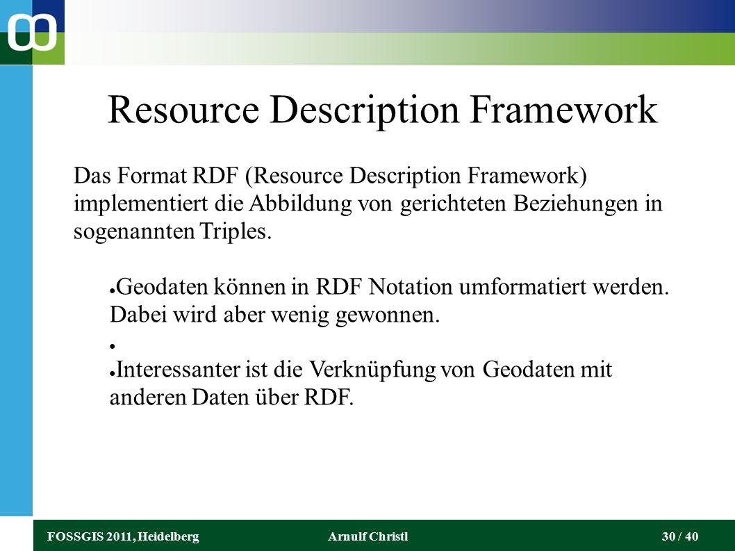 FOSSGIS 2011, HeidelbergArnulf Christl30 / 40 Resource Description Framework Das Format RDF (Resource Description Framework) implementiert die Abbildung von gerichteten Beziehungen in sogenannten Triples.