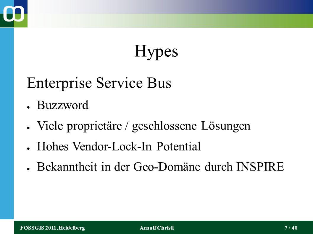 FOSSGIS 2011, HeidelbergArnulf Christl7 / 40 Hypes Enterprise Service Bus ● Buzzword ● Viele proprietäre / geschlossene Lösungen ● Hohes Vendor-Lock-In Potential ● Bekanntheit in der Geo-Domäne durch INSPIRE