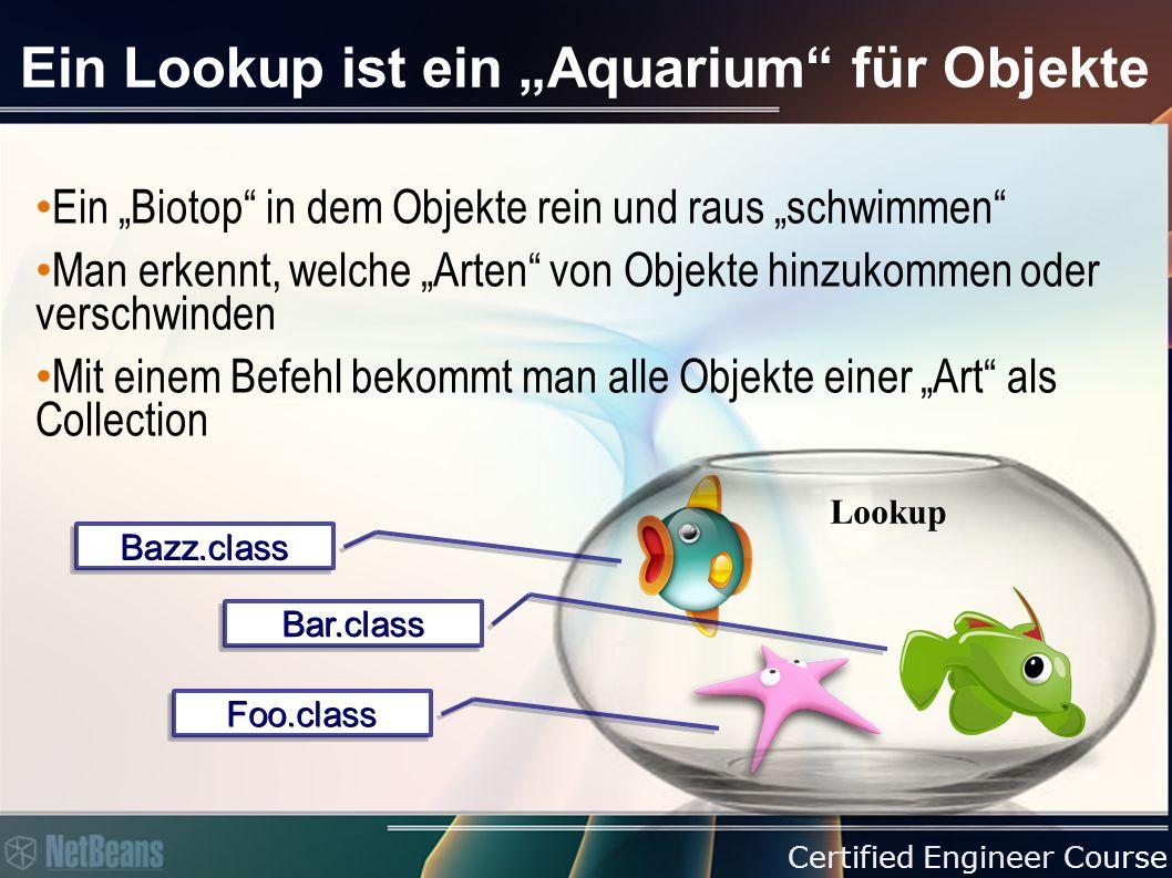 """Certified Engineer Course Ein Lookup ist ein """"Aquarium für Objekte Ein """"Biotop in dem Objekte rein und raus """"schwimmen Man erkennt, welche """"Arten von Objekte hinzukommen oder verschwinden Mit einem Befehl bekommt man alle Objekte einer """"Art als Collection Bazz.classBazz.class Foo.classFoo.class Bar.classBar.class Lookup"""