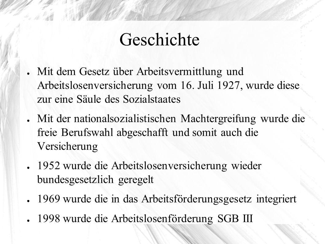Geschichte ● Mit dem Gesetz über Arbeitsvermittlung und Arbeitslosenversicherung vom 16.
